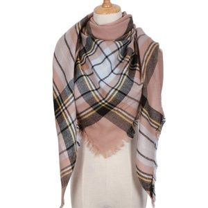 Accessories - Triangle Beige Plaid Scarves NWT